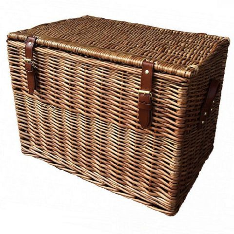 Cotswolds Small Wicker Living Room Storage Chest 50cm
